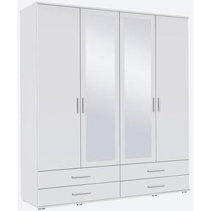 Rauch Möbel Rasant, Schrank Drehtürenschrank mit Spiegel inklusive 4 Schubladen, 4-türig, Zubehörpaket Basic 2 Einlegeböden, 1 Kleiderstange, Weiß, 52 x 168 x 188 cm