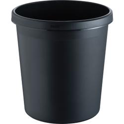 """helit """"the german"""" Papierkorb mit Rand, 18 Liter, Objekt-Papierkorb mit umlaufendem Griffrand, Farbe: schwarz"""