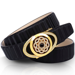 Anthoni Crown Ledergürtel mit goldfarbener Automatik-Schließe und drehender Kristallblume 85