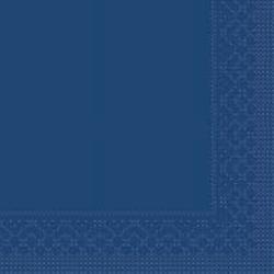 Mank Tissue Basics Servietten, 33 x 33  cm, 1/4 Falz, 3-lagig, 1 Karton = 6 x 100 Stück = 600 Servietten, blau