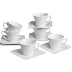 Retsch Arzberg Espressotasse Fantastic, (Set, 12 tlg., 6 Espresso Obertassen-6 Untertassen), Espressotassen, Untertassen beige Becher Tassen Geschirr, Porzellan Tischaccessoires Haushaltswaren