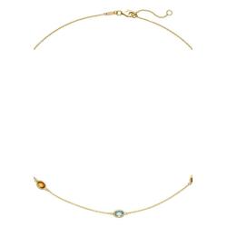 JOBO Collier, 585 Gold mit Amethyst Blautopas Citrin