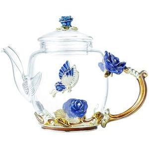 Cabilock Elegante Glas Teekanne Bunte Blumenmuster Teekanne mit Deckel Blumen Vintage Teekanne für Blühende Und Loseblatt Tee (Blaue Rose Stil)