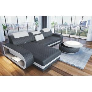 Ecksofa Ledersofa Couch BERLIN L Form Designersofa Chesterfield Sofa LED modern