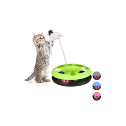 relaxdays Tier-Kugelbahn Katzenspielzeug mit Maus, Kunststoff