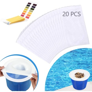 Mizijia 20 Stück Pool Skimmer Socken, Filter Skimmer Pool mit PH Teststreifen, Skimmer Netz, Pool Skimmer Socken Filter für Schwimmbad Korb, Skimmer Socken Netz für Pools, Teich (20x)