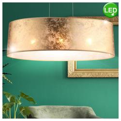 etc-shop Deckenleuchte, Hänge Pendel Leuchte Textil Decken Arbeitszimmer Lampe im Set inklusive LED Leuchtmittel