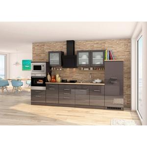 HELD MÖBEL Küchenzeile Mailand, mit Elektrogeräten, Breite 330 cm grau