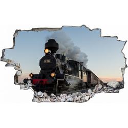 DesFoli Wandtattoo Eisenbahn Lok Lokomotive C0497 bunt 90 cm x 56 cm
