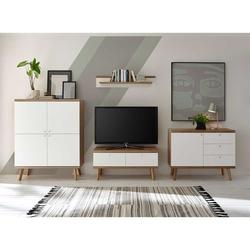 Wohnzimmerwand in Weiß und Eiche Skandi Design (4-teilig)