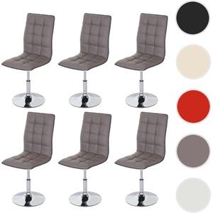 6x Esszimmerstuhl HWC-C41, Stuhl Küchenstuhl, Kunstleder ~ taupe