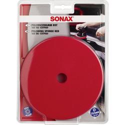 SONAX PolierSchwamm (hart) Ø 165 mm DA CutPad, Polierschwamm für Exzentermaschinen mit großem 150 mm Stützteller, Farbe: rot