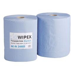 Papier-Putztuchrolle blau 3-lagig 38x38 cm (2x500 Blatt) blau, WIPEX