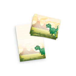 Kreative Feder Briefpapier, Briefpapier-Set für Kinder, T-Rex, DIN A5 Briefpapier-Block 50 Blatt mit 20 Umschlägen, Briefpapier mit Linien, Brief, Post, Schreiben