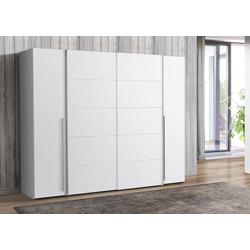 Kleiderschrank in weiß, mit 2 Schwebe- und 2 Drehtüren, 10 Einlegeböden und 2 Kleiderstangen, Maße: B/H/T ca. 270,3/210/61,6 cm