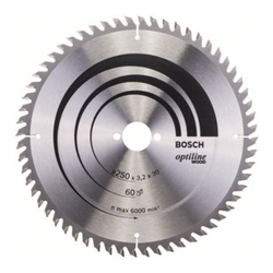Bosch Kreissägeblatt Optiline Wood für Tischkreissägen 250 x 30 x 3,2 mm 60
