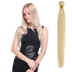 Extensions Echthaar Glatt 100% Remy echthaar tressen Brasilianisches Virgin echthaar Human Hair Weave Haarverlängerung #613 Hell-Lichtblond (45cm -100g)