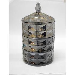 ZELLERFELD Vorratsglas Trendmax 3 Etagig Vorratsdose Kristall Glas Vorratsgläser Aufbewahrungsgläser Cam Sunumluk Dose Glasbehälter schwarz