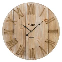 elbmöbel Wanduhr Uhr aus Holz in braun mit Kordel (Wanduhr braun Holz Uhr Brett Landhaus Shabby Chic antik look groß Kordel Paris)