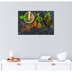 Posterlounge Wandbild, Mörser mit Kräutern und Gewürzen 90 cm x 60 cm