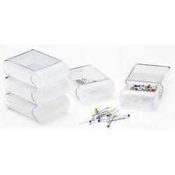 buttinette Aufbewahrungsboxen, Größe: 4,5 x 7,5 x 2,5 cm, Inhalt: 5 Stück