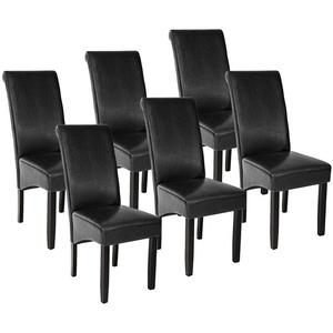 tectake Esszimmerstuhl 6 Esszimmerstühle, ergonomisch, massives Hartholz (6 Stück), gepolstert schwarz