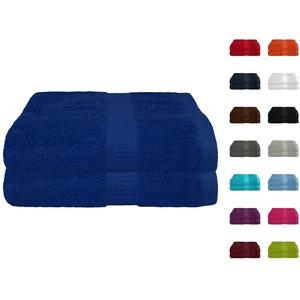 2er Pack Frottier Saunatuch, Saunatücher Set 80x200 cm 100% Baumwolle in 15 modernen Farben Royalblau