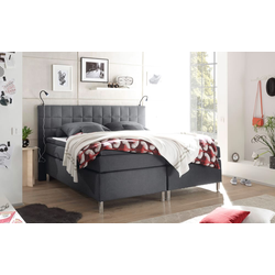 Black Red White Boxspringbett Victoria 3 in anthrazit