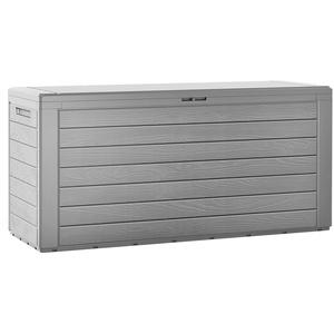 Gartenbox Holzoptik Auflagenbox 120 x 46 x 57 cm Kissenbox wasserabweisend XXL Gartentruhe Deckel klappbar Truhe Grau