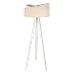 Licht-Erlebnisse Stehlampe AMELIE Stehlampe Tripod Weiß Creme Silber Holz Stoff Wohnzimmer Lampe