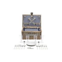 casa.pro Besteck-Set, Picknickkorb mit Besteck für 4 Personen Blau-Weiß blau