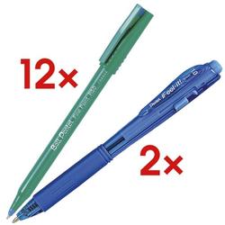 12er-Set Einweg-Tintenroller Ball »Fine Point R50« inkl. 2 Kugelschreiber »BX-44 blau, Pentel