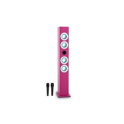 ONECONCEPT Tallgirl Karaoke-Lautsprecher Akku BT USB SD MP3 AUX 2x Mikro pink Party-Lautsprecher