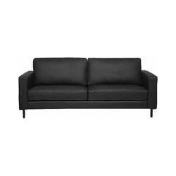 Sofa 3-Sitzer Leder modernes Ledersofa in Schwarz Couchsofa Wohnzimmersofa Savalen
