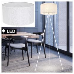 etc-shop Stehlampe, Steh Leuchte Baum Dekor Stativ Stand Lampe 3-Bein weiß Ess Zimmer im Set inkl. LED Leuchtmittel