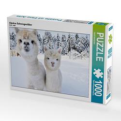 Alpakas Schneegestöber Lege-Größe 64 x 48 cm Foto-Puzzle Bild von Heidi Rentschler Puzzle