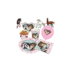 TapirElla Kindergeschirr-Set Partyset Pferde, 85-tlg. rosa