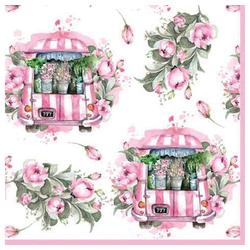 Linoows Papierserviette 20 Servietten Frühling Szenerie mit Blumenwagen &, Motiv Frühling Blumenwagen & Rosa Rosen