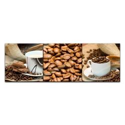 Bilderdepot24 Glasbild, Glasbild - Kaffee Collage I 90 cm x 30 cm