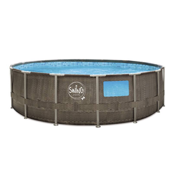Aufstellpool, Swimming Pool, Polyrattan-Optik, mit Metallrahmen und Filterpumpe, 4,57 x 1,22 m
