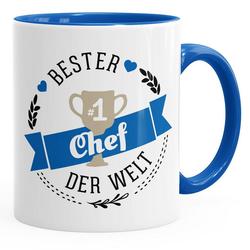 MoonWorks Tasse Kaffee-Tasse {bester_t_Chef} Chef der Welt Geschenk für Chef MoonWorks® blau
