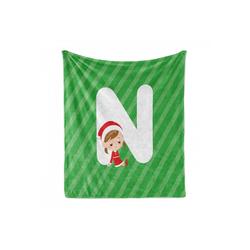 Foulard Gemütlicher Plüsch für den Innen- und Außenbereich, Abakuhaus, Weihnachtsalphabet Ferienwohnung N Entwurf 175 cm x 230 cm