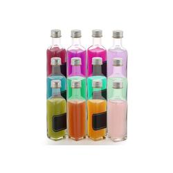 Praknu Trinkflasche 12 Flaschen Schraubverschluss 100ml, Schraubverschluss - 12 Etiketten mit Stift - Leere Flaschen