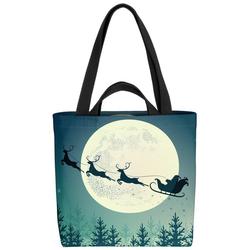 VOID Henkeltasche (1-tlg), Santa Claus Schlitten Nikolaus Weihnachtsmann Schlitten Mond Weihnachten