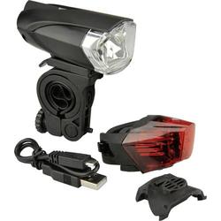 Fischer Fahrrad Fahrradbeleuchtung Set 85354 LED akkubetrieben Schwarz