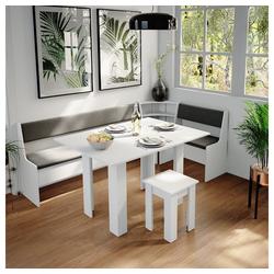 Vicco Sitzgruppe Eckbankgruppe Roman Weiß 210x120cm Esszimmergruppe Eckbank Sitzgruppe