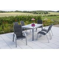 MERXX Amalfi Set 7-tlg. Tisch 220 x 90 cm inkl. Stapelsessel schwarz