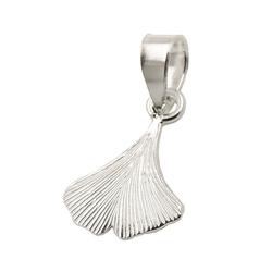 Gallay Kettenanhänger Anhänger 9x9mm Ginkgoblatt glänzend Silber 925 (inkl. Schmuckbox), Silberschmuck für Damen