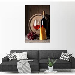 Posterlounge Wandbild, Rotwein mit Käse und Trauben 100 cm x 150 cm