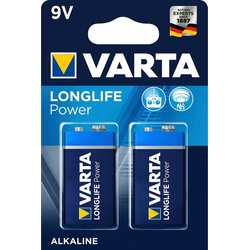 VARTA LONGLIFE Power Alkaline Batterie, 9 V E-Block 6LP3146 2er-Pack ideal für Feuermelder Batterie, (9 V)